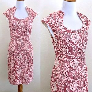 Kay Unger Red Lace Dress